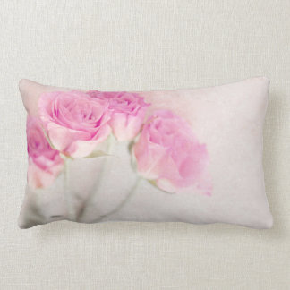 Pink Rose Marble Stone Background Collage Roses Pillow