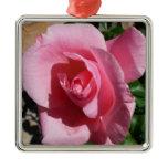 Pink Rose Metal Ornament