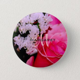 Pink Rose Monogram Button