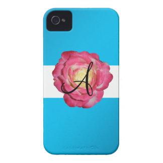 Pink rose monogram Case-Mate iPhone 4 case