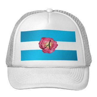 Pink rose monogram hats