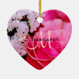 Pink Rose Monogram HEART ORNAMENT