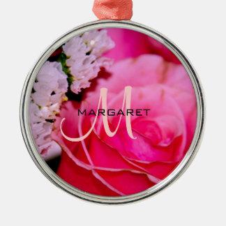 Pink Rose Monogram Premium Round Ornament
