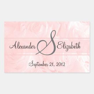 Pink Rose-Monogram Wedding Rectangular Sticker