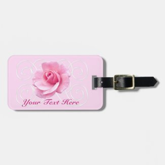 Pink Rose Monogrammed Luggage Tags for Women Luggage Tag
