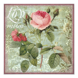 "Pink rose mother's day card 5.25"" square invitation card"