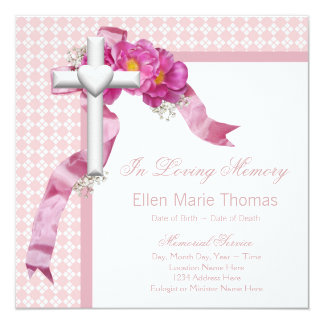 Pink Rose Mourning Cards Personalized Invites