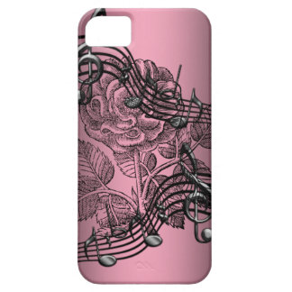 Pink Rose Music Notes iPhone 5 Case