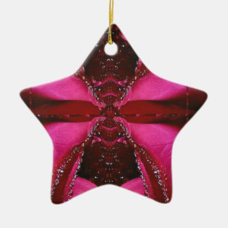 Pink Rose n Honey Bee Sting - Background Pattern Christmas Ornaments