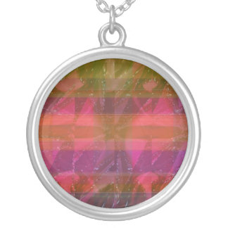Pink Rose n Honey Bee Sting - Background Pattern Silver Plated Necklace