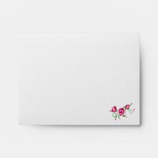 Pink Rose Note Card Designer Envelope