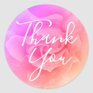 Pink Rose Ombre Overlay Photo Wedding Thank You Classic Round Sticker