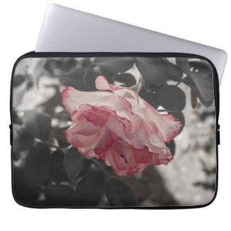 Pink Rose on Black and White Background Photo Computer Sleeve
