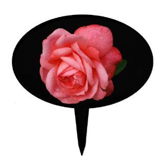 Pink rose On Black Background Cake Topper