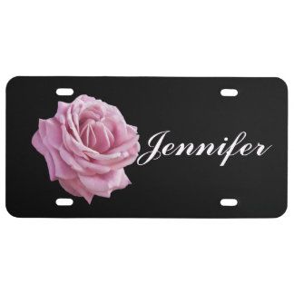 Pink Rose on Black Customizable Name License Plate
