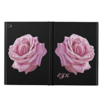 Pink Rose on Black, Monogram Powis iPad Air 2 Case