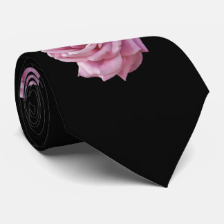 Pink Rose on Black Neck Tie