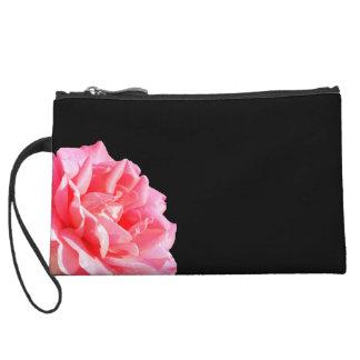 Pink Rose on Black Wristlet