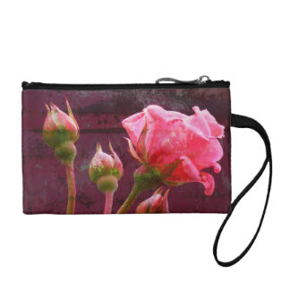 Pink Rose on Grungy Background Change Purse