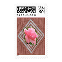 Pink Rose on Lace Postage