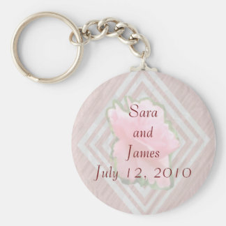 Pink Rose on Lace Transparent Keychain