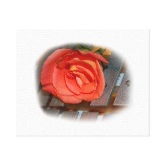Pink Rose on Metal Mallet Bells Canvas Print