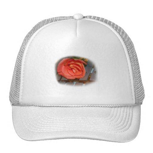 Pink Rose on Metal Mallet Bells Mesh Hat