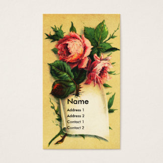 Pink Rose on Parchment Victorian Business Card