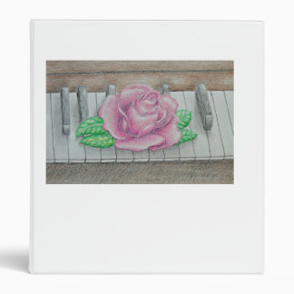 Pink Rose on Piano Binder