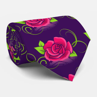 Pink Rose on Purple Background Tie