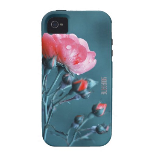 Pink Rose on Teal iPhone 4/4S Cases