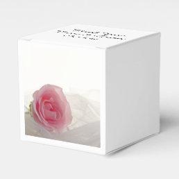 Pink Rose on White Wedding Favor Box