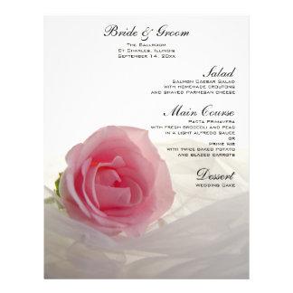 Pink Rose on White Wedding Menu Personalized Flyer