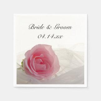 Pink Rose on White Wedding Napkin