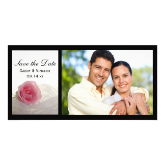 Pink Rose on White Wedding Save the Date Card