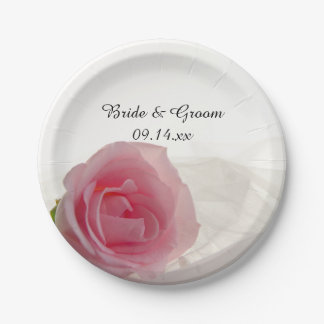 Pink Rose on White Wedding 7 Inch Paper Plate