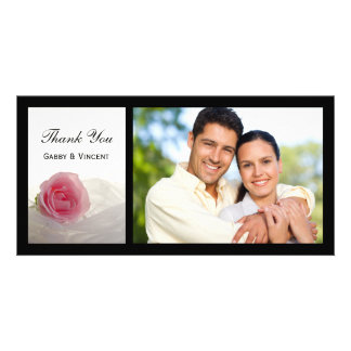 Pink Rose on White Wedding Thank You Card