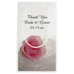 Pink Rose on White Wedding Thank You Small Gift Bag