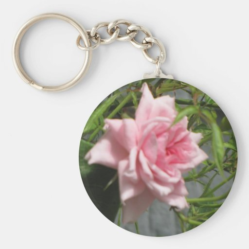 Pink Rose open Keychains