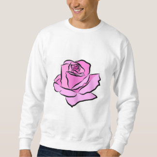 Pink Rose Painted Pink Petals Shades Thick Outline Sweatshirt
