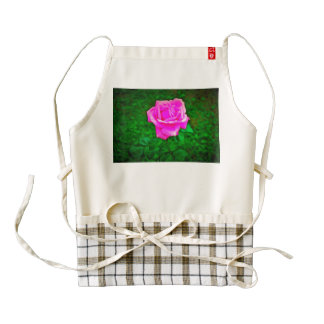 Pink rose painting zazzle HEART apron