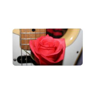 Pink rose pale guitar music image address label