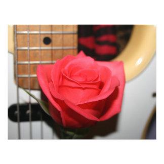 Pink rose pale guitar music image custom flyer
