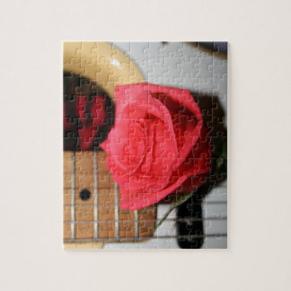 Pink rose pale guitar music image jigsaw puzzle