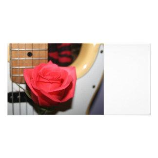 Pink rose pale guitar music image photo card