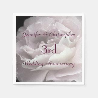 Pink Rose Paper Napkins, 3rd Wedding Anniversary Napkin
