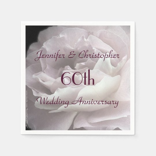 Pink Rose Paper Napkins, 60th Wedding Anniversary Napkin | Zazzle.com