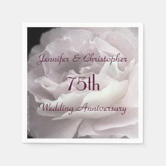 Pink Rose Paper Napkins, 75th Wedding Anniversary Paper Napkin