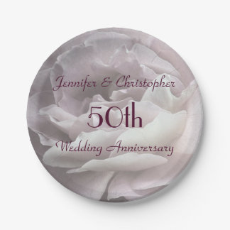 Pink Rose Paper Plates, 50th Wedding Anniversary Paper Plate