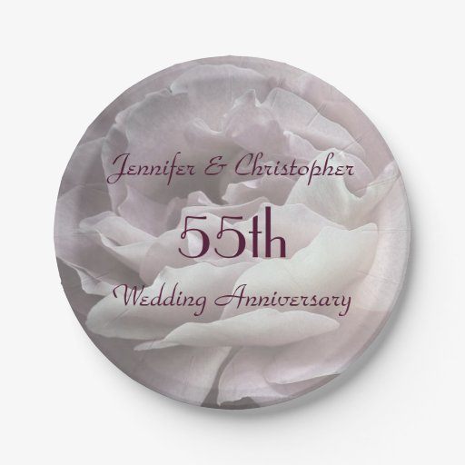 Pink Rose Paper Plates 55th Wedding Anniversary Paper Plate Zazzle